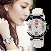 SKMEI 9075 Rose Series Ladies Watch Swiss diamond watch ladies fashion leather waterproof wrist watch Korean luminous(China (Mainland))