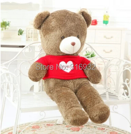 J1 TOP QUALITY Plush Cotton Light line Brown Giant 55cm Cute valentine red love heart sweater Plush Teddy Bear Huge Soft TOY(China (Mainland))
