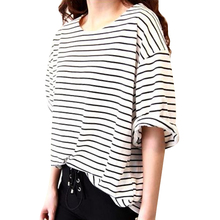 New 2014 Autumn High Quality  Half Sleeve O-neck Striped  Loose Casual Tee Tops girl t shirt women Free Shipping 101