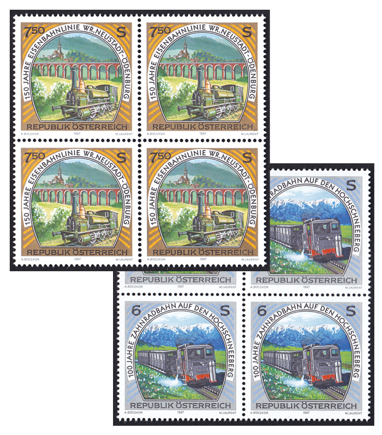 2Block F352 1997 Austria train overseas S.S. SS Stamp America Korea Booklet Postage Postal Stamp Collection Vintage Post Stamp(China (Mainland))