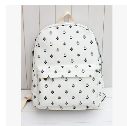 2015 Korean Style Vintage Designer Anchor Printing Fresh Backpack Canvas Bag Student School Double Shoulder - Waiting for you JL store