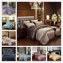4PCS Popular silk Damask bed linen duvet cover jacquard embroidery bedsheet sets luxury silk bedding set king size(China (Mainland))