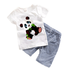 Buy 2017 Baby boys clothes Summer Toddler boy clothing sets Cartoon Children clothes Kids Costume Panda Dinosaur Boys clothing T7 for $6.79 in AliExpress store