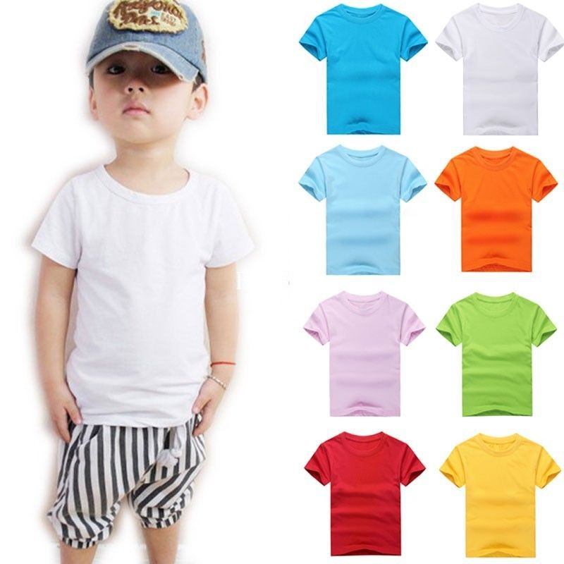 2016 Casual Tee Summer Kids Boys Clothes T Shirt Plain Solid Color Cotton Girls TShirts Children Clothing Baby Boy Tops W1(China (Mainland))