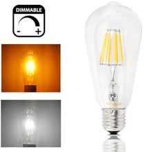 Dimmable ST64 LED Bulb 4W 8W E26/E27 Filament Light Bulb 110V/220V Vintage Edison Lamp Retro Transparent Glass Appearance(China (Mainland))