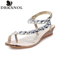 Women Sandals New 2016 Summer Style Rhinestone Open Toe Wedges Women Flats Shoes High Quality Thong