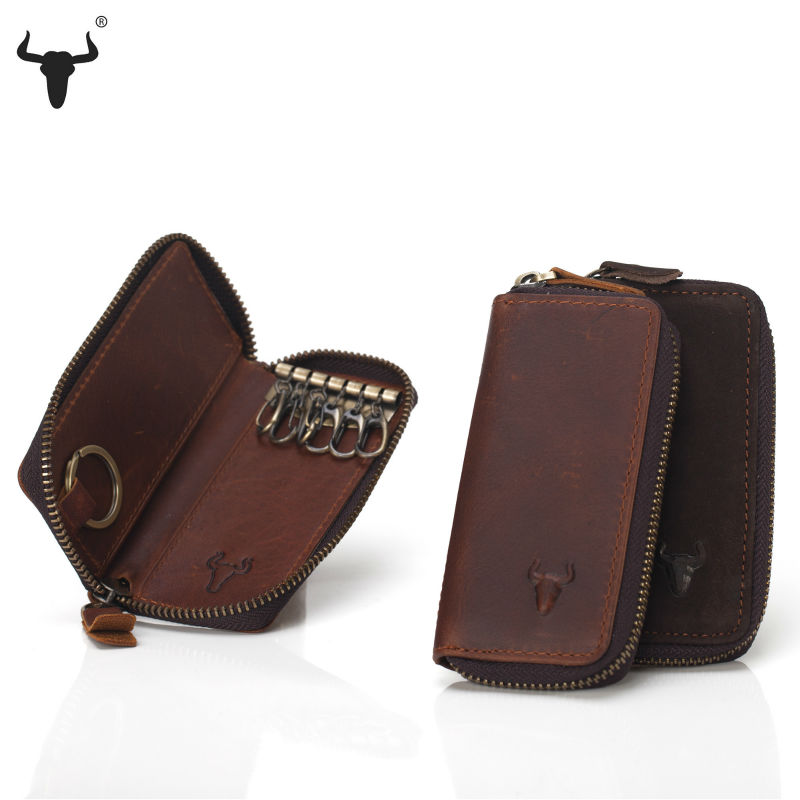 Top Grain Leather Key Wallets High-Quality Cowskin Man Key Bag Woman Key Case Casual Key Package Vintage Cowhide Key Holder(China (Mainland))