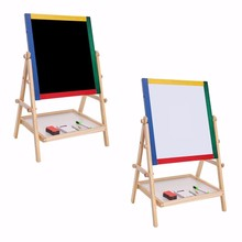 1 set Adjustable Wooden Easel Board  2 In 1 Black White Boards Drawing Board For Children Kid Gifts Art Painting Supplies(China (Mainland))
