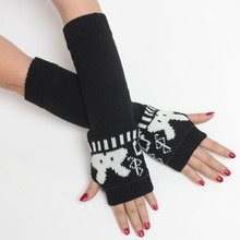Wholesale Korean version cute little cartoon rabbit pattern knit wool gloves long section half finger lady arm warmers fashion (China (Mainland))