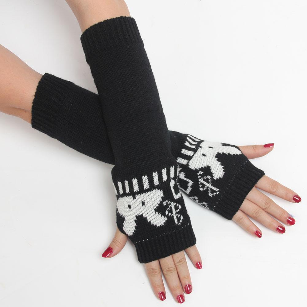 Wholesale Korean version cute little cartoon rabbit pattern knit wool gloves long section half finger lady arm warmers fashion(China (Mainland))