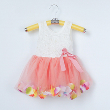 New Fashion Girls' Pink Rose Petal Hem Dress Girls Floral Clothes Cute Kids Clothes Princess TuTu Dress Vestidos Infantis