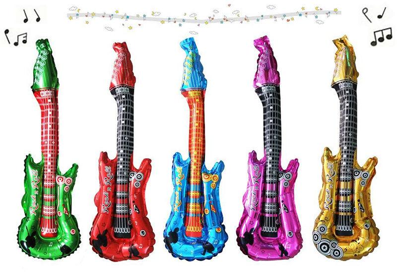 Free ship Guitar shape cheer stick cartoon head balloon clappers inflatable balloon stick children toys 100pcs/lot<br><br>Aliexpress