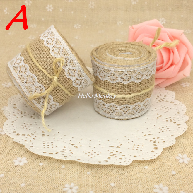 2meters Natural Jute Burlap Hessian Ribbon with Lace Trims Tape Rustic Wedding Decor wedding cake topper