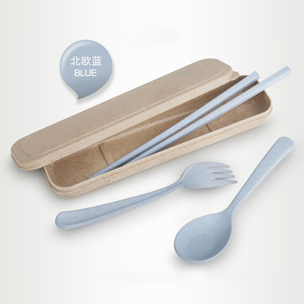 Finether Wheat Straw Flatware Cutlery Set Spoon Fork Chopsticks Heat-resistant with Case Portable for Travel Camping Picnic Use(China (Mainland))