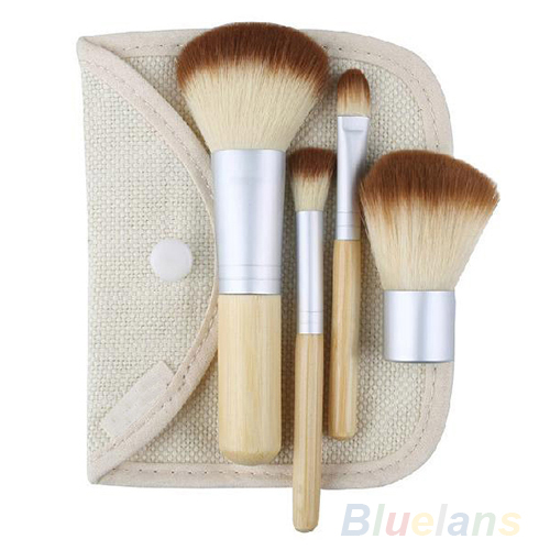 Hot selling Women 5pcs/set Hot Selling New BAMBOO Makeup Brush Set 5pcs Make Up Brushes 1FLE(China (Mainland))