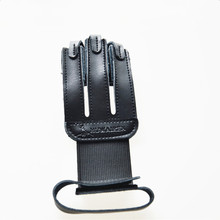 New Medium Sized 3 Fingered Black Leather Three Finger Archery Glove For Archery Recurve Bow And