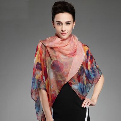 100% Silk Beach Cover-ups Women Long Scarf Shawl Spring Autumn Female Red Silk Scarves Printed Summer(China (Mainland))