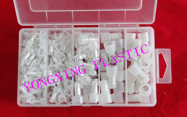 195piece/lot nylon material close end Connector CE-1,CE-2,CE-5,CE-8 mixed in box<br><br>Aliexpress