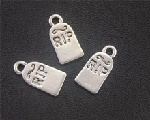Buy 15pcs Antique Sliver Halloween Gravestone RIP Charms Accessories Jewelry Making 16X8mm A2004 for $1.00 in AliExpress store