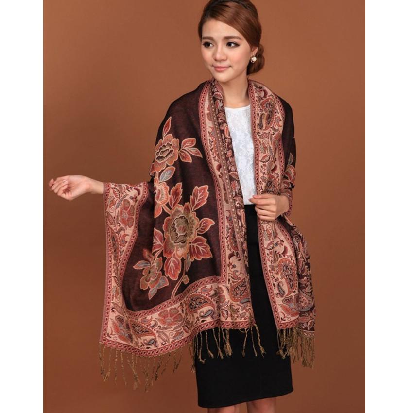 Black Hot Sale Fashion Double Faces Fancy Paisley Women's Pashmina Shawl/Scarf Wrap Peony Free Shipping RH-1(China (Mainland))