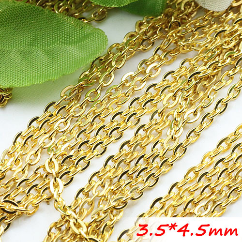 Bulk Sale Gold Plated Metal Flat Cable Necklace Chains Jewelry Links diy Findings Good Quality 3.5*4.5mm100 Meters/Troll Packing<br><br>Aliexpress