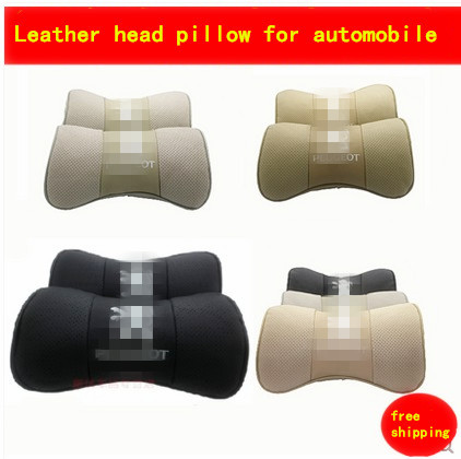 car headrest leather neck pillow bamboo charcoal 2pcs/ seat absorb sweat pillow cushion cover for peugeot301 3008 308 4008 508(China (Mainland))