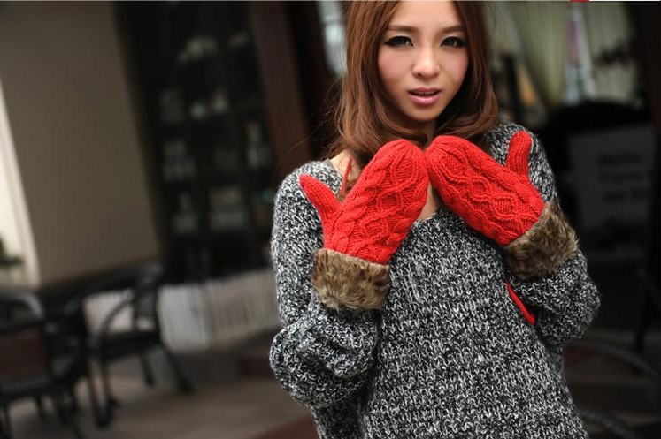 2015 Brand Warm Winter Women Full-finger Wrist Gloves with Double Rope Knitted Glove Female Mittens(China (Mainland))