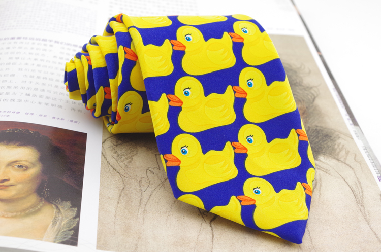 Free Shipping 8cm Yellow Rubber Duck Fashion Tie For Men Hot TV Show Cartoon corbatas Novelty Fancy Duck Pattern Printed Brand(China (Mainland))