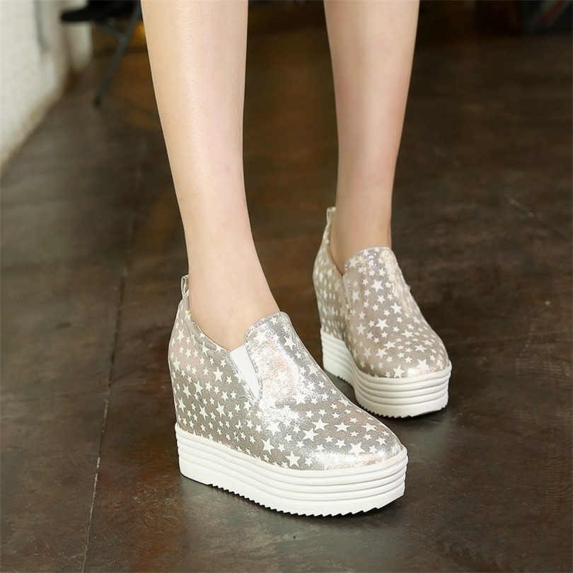ENMAYES Fashion Round Toe Breathable Height Increasing Women Muffin Bottom Shoes Lighted In Night Causal Shoes Woman Size 34-43