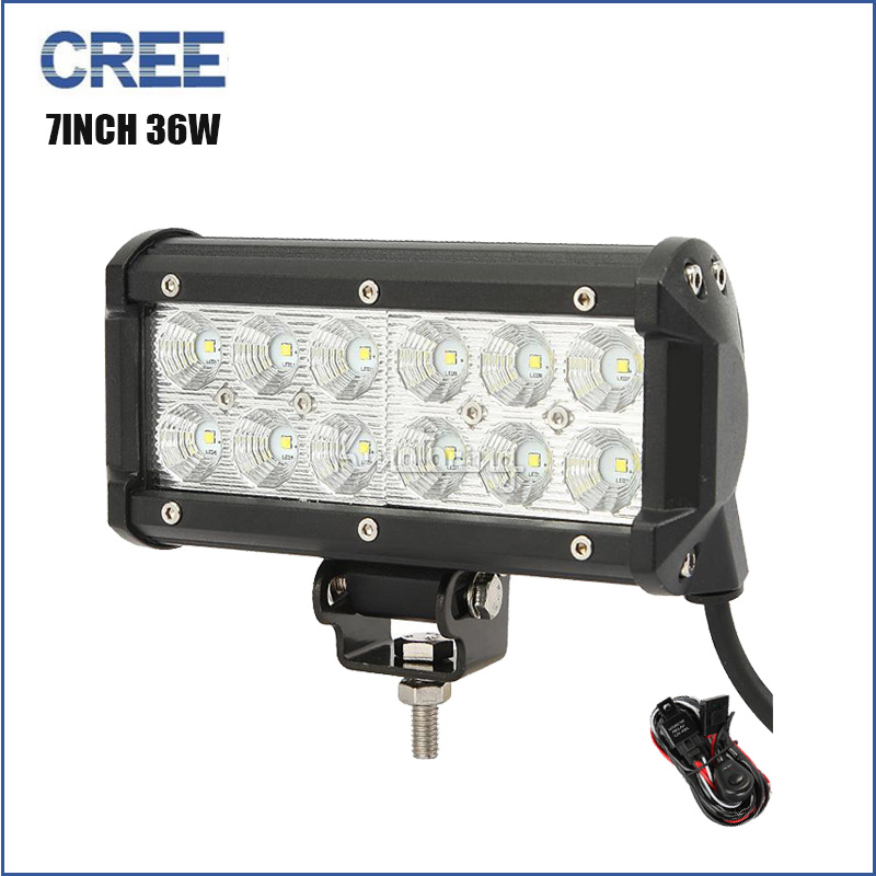 CREE 7inch 36W offroad Pencil beam LED work light bar for driving boat truck 4X4 4WD SUV ATV car driving headlight DC 12V 24V(China (Mainland))