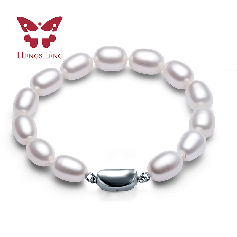 AAAA 8-9mm Natural Frewater Water Drop Pearl Bracelets Women Bracelet Fine Jewelry Classic Chain Charm Bracelet 2016 New Pearl(China (Mainland))