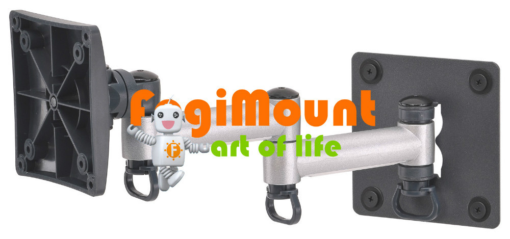 "Best Buy FREE SHIPPING [FOGIMOUNT] Monitor Wall Mount Bracket with Aluminum Adjustable Arm Up to 24"" Made in Taiwan -Silver(Taiwan)"
