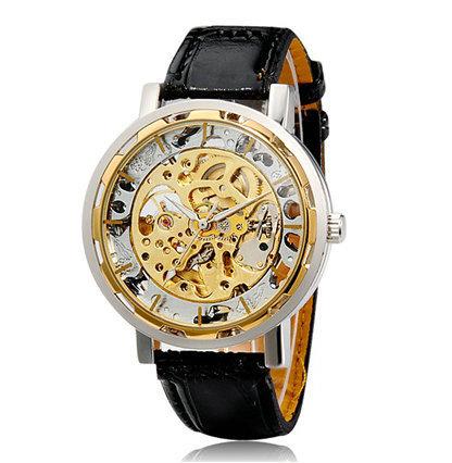 G8097 выдолбите круглый автоматическая механическое движение ретро наручные часы с сплава с гравировкой чехол, Искусственного кожаный ремешок золото