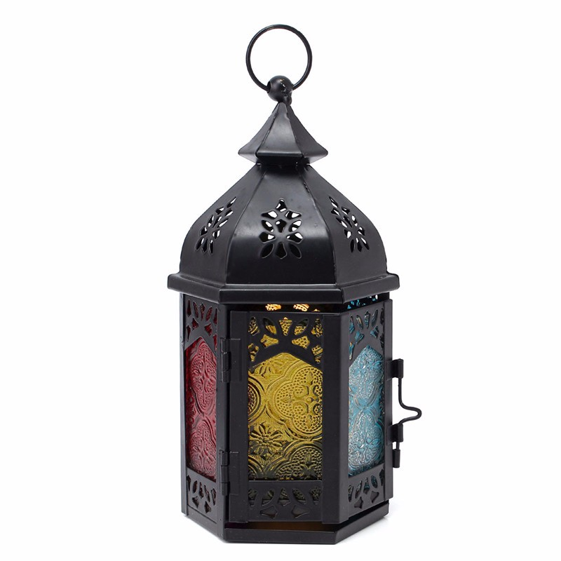 Excellent Glass Iron Moroccan Delight Garden Candle Holder Table Hanging Lantern Fine for Home Wedding Party Decoration(China (Mainland))