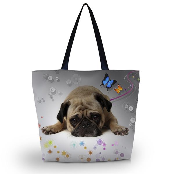 Cute Pug Soft Foldable Tote Women's Shopping Bag Shoulder Lady Handbag Pouch - NO:1 BAG SHOP store