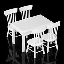 5pcs White Dining Table Chair Model Set 1:12 Dollhouse Miniature Furniture Great Children Gift(China (Mainland))
