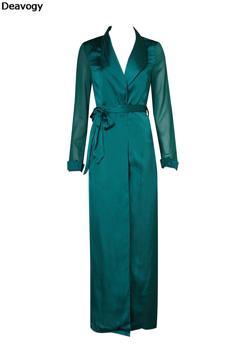 Dark Green Khaki Black Chiffon Long Sleeve Chic And Modern Women Long Duster Coat 156cm long Casual Jacket(China (Mainland))