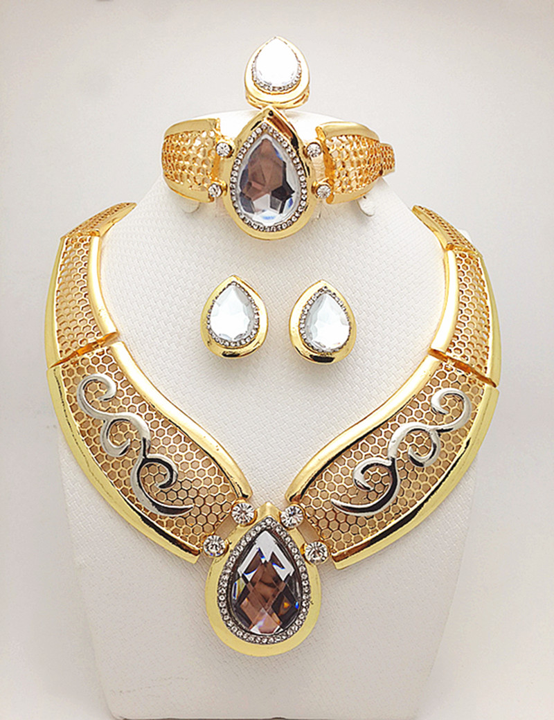 New Fashion Romantic Wedding Accessories 18k Gold Plated Jewelry Sets Austrian Crystal Necklaces Bracelets Earrings Rings(China (Mainland))
