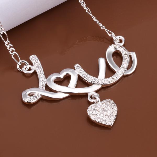 Luxury chain necklace fine jewelry crystal heart love pendant silver plated collares mujer necklace women summer style N309(China (Mainland))