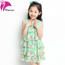New Style 2016 Baby Girl Sleeveless Dress Chiffon Cool Summer Floral Flower Draped Dresses Vestido Infantil Kids Clothes