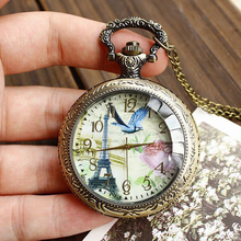 Buy Cindiry London Style Vintage Eiffel Tower Pocket Watch Mens Birds Flowers Around Fob Necklace Chain Womens Pocket Watches P30 for $2.66 in AliExpress store