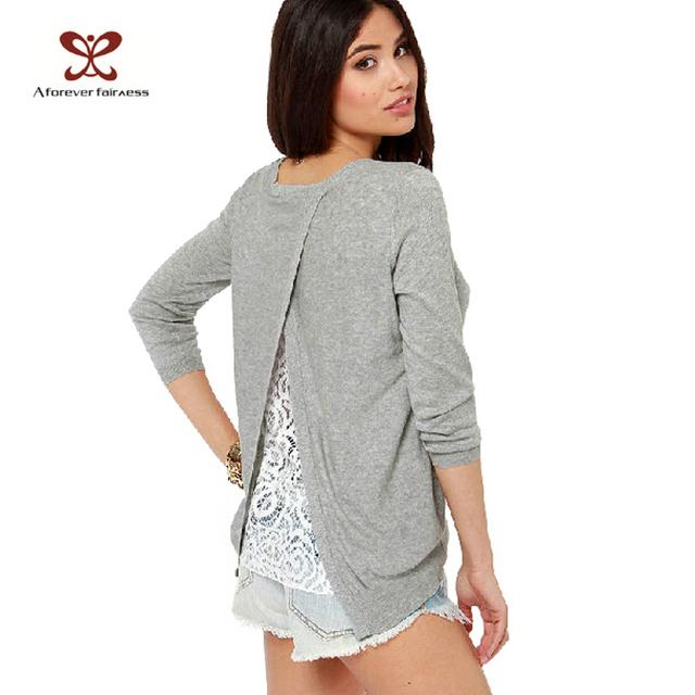 Новый осень зима женщины свитер обратно сплит крест кружева шить с длинным рукавом ...