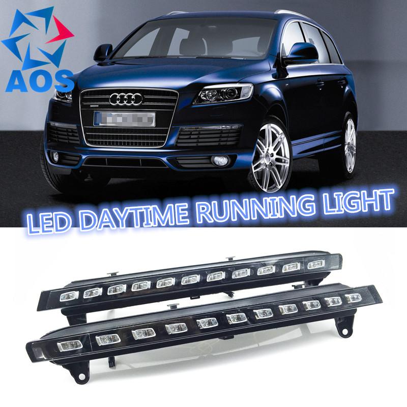 2PCs/set Auto LED DRL set Daylight Car Daytime Running lights For Audi Q7 2005 2006 2007 2008 2009 2010(China (Mainland))