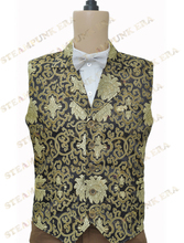 Halloween Costume Noble Black Golden Floral Jacquard Victorian Steampunk Waistcoat