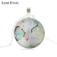 Buy LIEBE ENGEL Vintage Fine Jewelry Glass Cabochon Necklace&Pendant Butterfly Statement Chain Necklace Silver Color Jewelry Women for $1.35 in AliExpress store