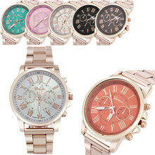 2016 Free shipping New Geneva Women Dress Steel strap Watch crystal rose golden men casual unisex Quartz wristwatches     W407