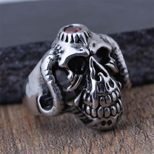 2016 New Stainless Steel Fashion Gothic Style Hell Skeleton Skull Biker Finger Ring For Men Classic Jewelry Husband Gift (A479)(China (Mainland))
