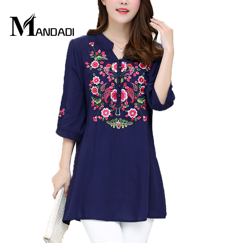 New women clothing casual embroidery half sleeve blouses shirt floral cotton blouses top shirt(China (Mainland))