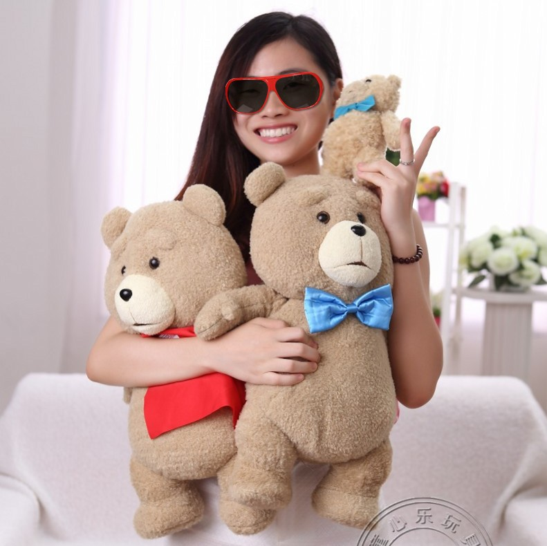 2015 Movie Teddy Bear Plush Toys In Apron 48CM Soft Stuffed Animals Ted Bear dolls lover gift ,sweet girl present, chidren toy(China (Mainland))