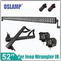 Oslamp For Jeep Wrangler JK Refit 6000K Pure White 500W 52 Straight LED Light Bar Windshield